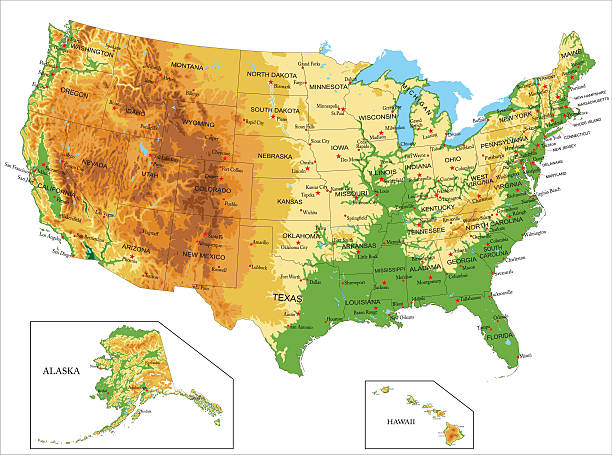 United States of America-physical map Highly detailed physical map of United States of western usa stock illustrations