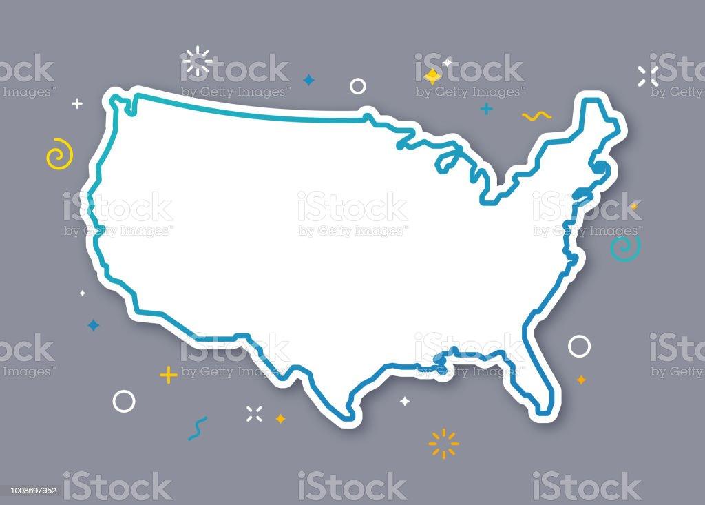 United States Outline Map vector art illustration