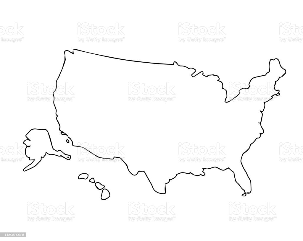 United States Outline Map Vector Silhouette Stock ...