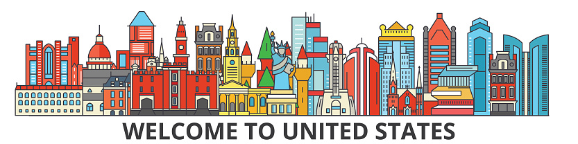 United States outline skyline, american flat thin line icons, landmarks, illustrations. United States cityscape, american travel city vector banner. Urban silhouette