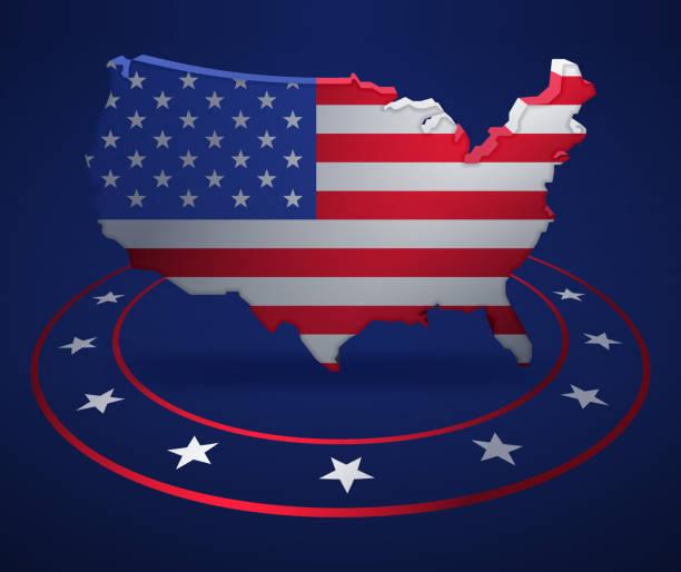 united states patriotic political map - presidential debate stock illustrations