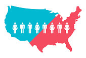 United States citizens and people population infographic map.