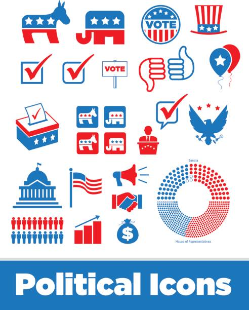 United States Political Icons Politics and U.S. political campaign images political party stock illustrations