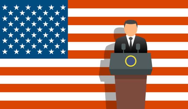 United states president and flag Us president and flag us president stock illustrations