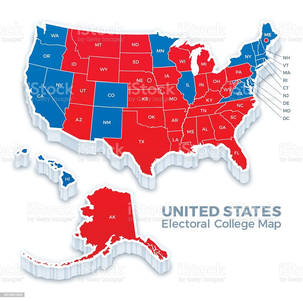 United States Presidential Election Electoral College Map 2016 vector art illustration