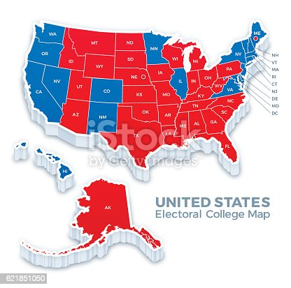 United States Presidential Election Electoral College Map 2016 Stock ...