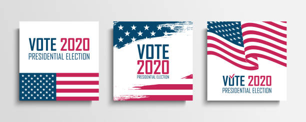 2020 united states presidential election set. usa elections vote cards collection. vector illustration. - ballot stock illustrations
