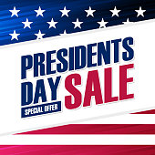 United States Presidents Day Sale special offer background with american national flag for business, promotion and holiday shopping.