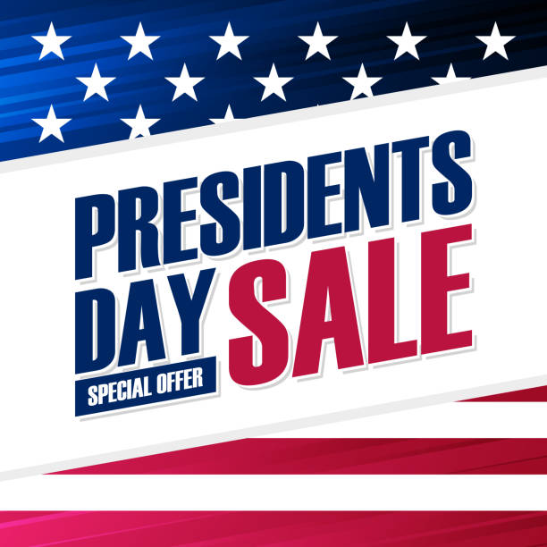 united states presidents day sale special offer background with american national flag for business, promotion and holiday shopping. - presidents day stock illustrations, clip art, cartoons, & icons