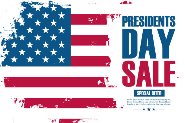 united states presidents day sale special offer banner with brush stroke background in american national flag colors. - presidents day stock illustrations, clip art, cartoons, & icons