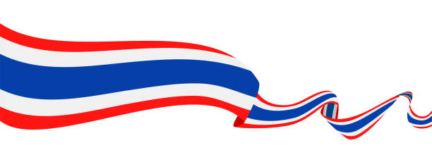 25 - united states - ribbon waving flat - thai flag stock illustrations, clip art, cartoons, & icons