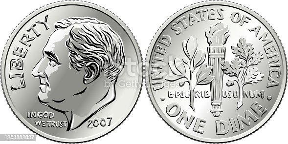 istock United States Roosevelt dime coin 1253882837