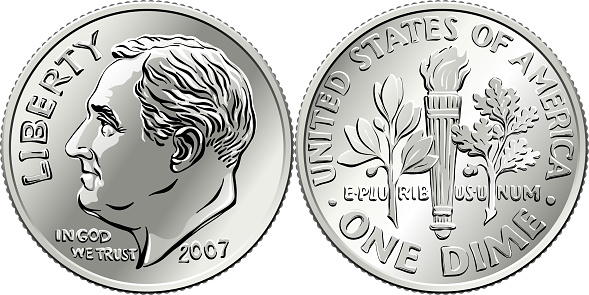 United States Roosevelt dime coin