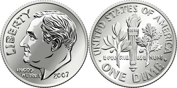United States Roosevelt dime coin Roosevelt dime, United States one dime or 10-cent silver coin, President Franklin Roosevelt on obverse and olive branch, torch, oak branch on reverse dime stock illustrations