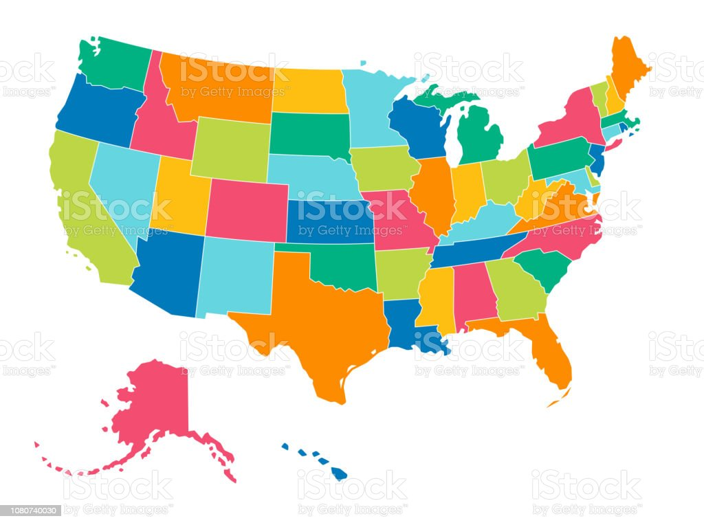 United States Simple Bright Colors Political Map Stock Illustration Download Image Now Istock