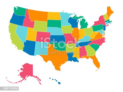 Simple Bright Colors Full Vector Political Map of the United States of America, isolated on White Background