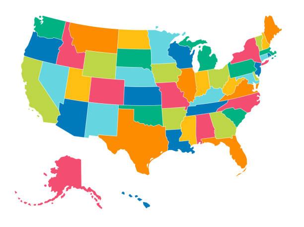 미국-간단한 밝은 색상의 정치 지도 - 미국 stock illustrations