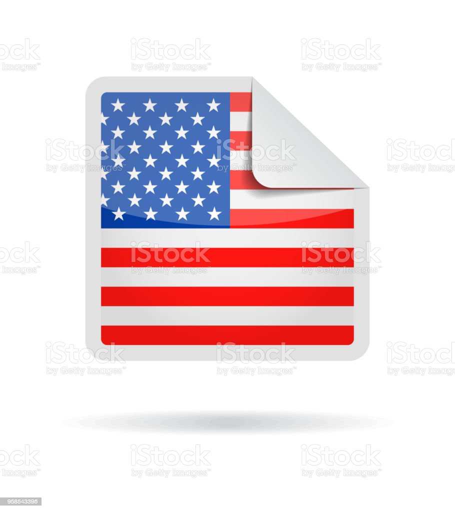 ecab4d478e29 United States - Square Paper Corner Flag Vector Glossy Icon royalty-free  united states square