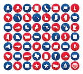 Flat united states state icons and symbols collection. 56 circular American state icons showing each state with a long shadow. Also included are icons for the United States Capitol dome, continental United States, vote button and star symbols. EPS 10 file. Transparency effects used on highlight elements.