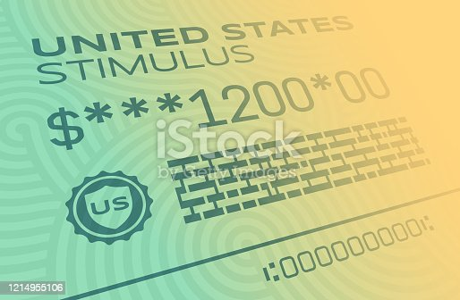 United States Treasury stimulus payment for Coronavirus CoViD-19 outbreak disease.
