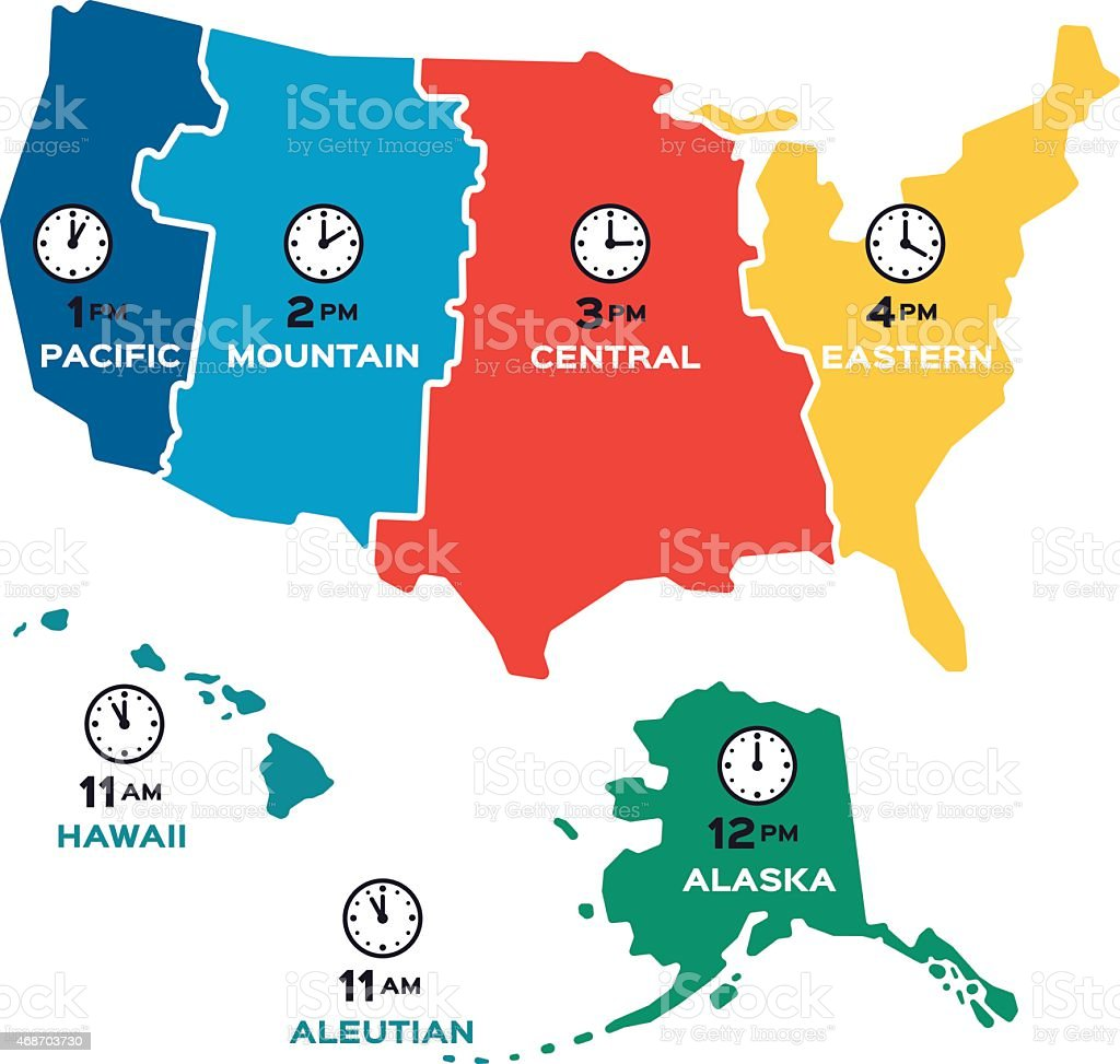 United States Time Zones - Flat Design vector art illustration