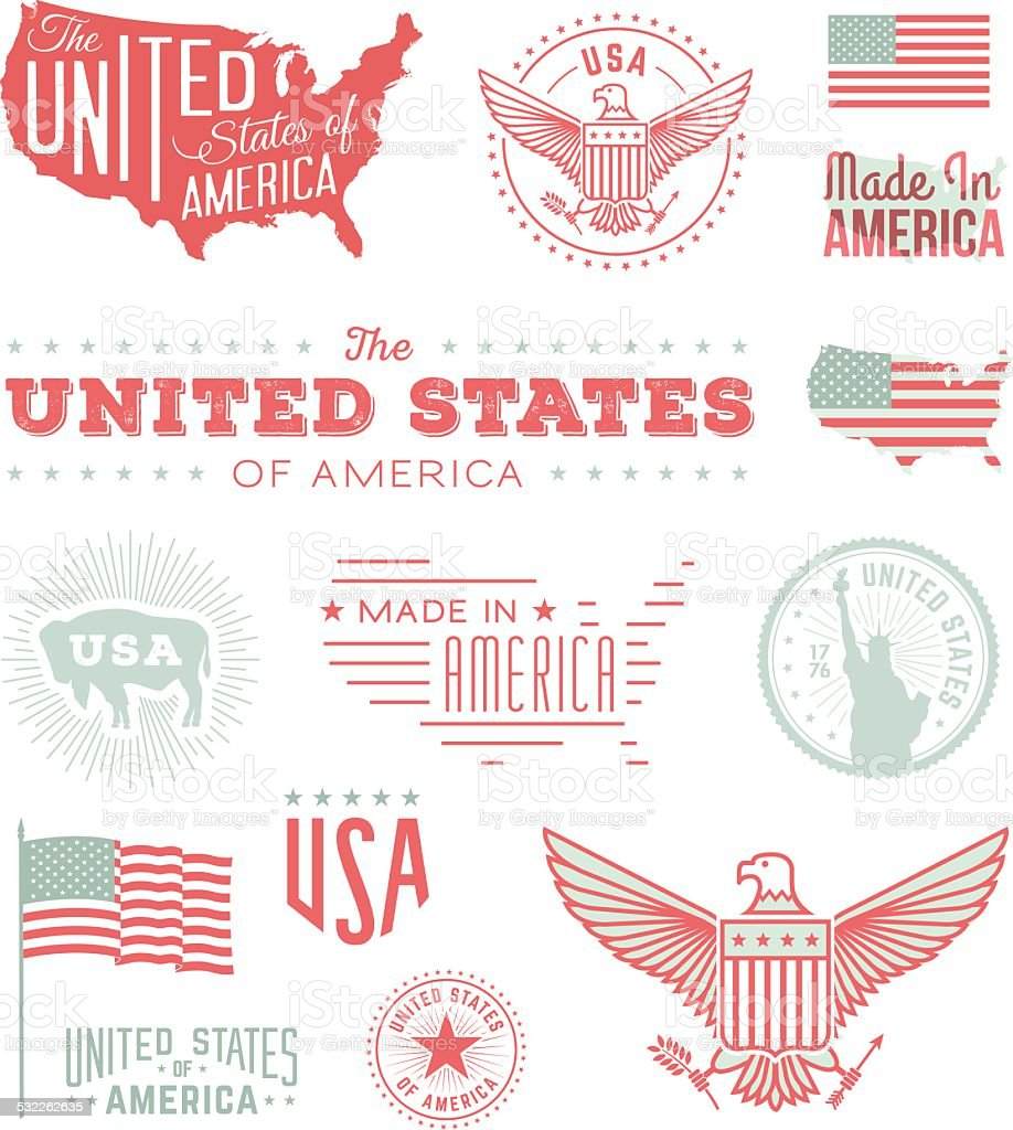 United States Typography A collection of retro-styled United State of America typography and symbols. Includes a layered Photoshop document. 2015 stock vector
