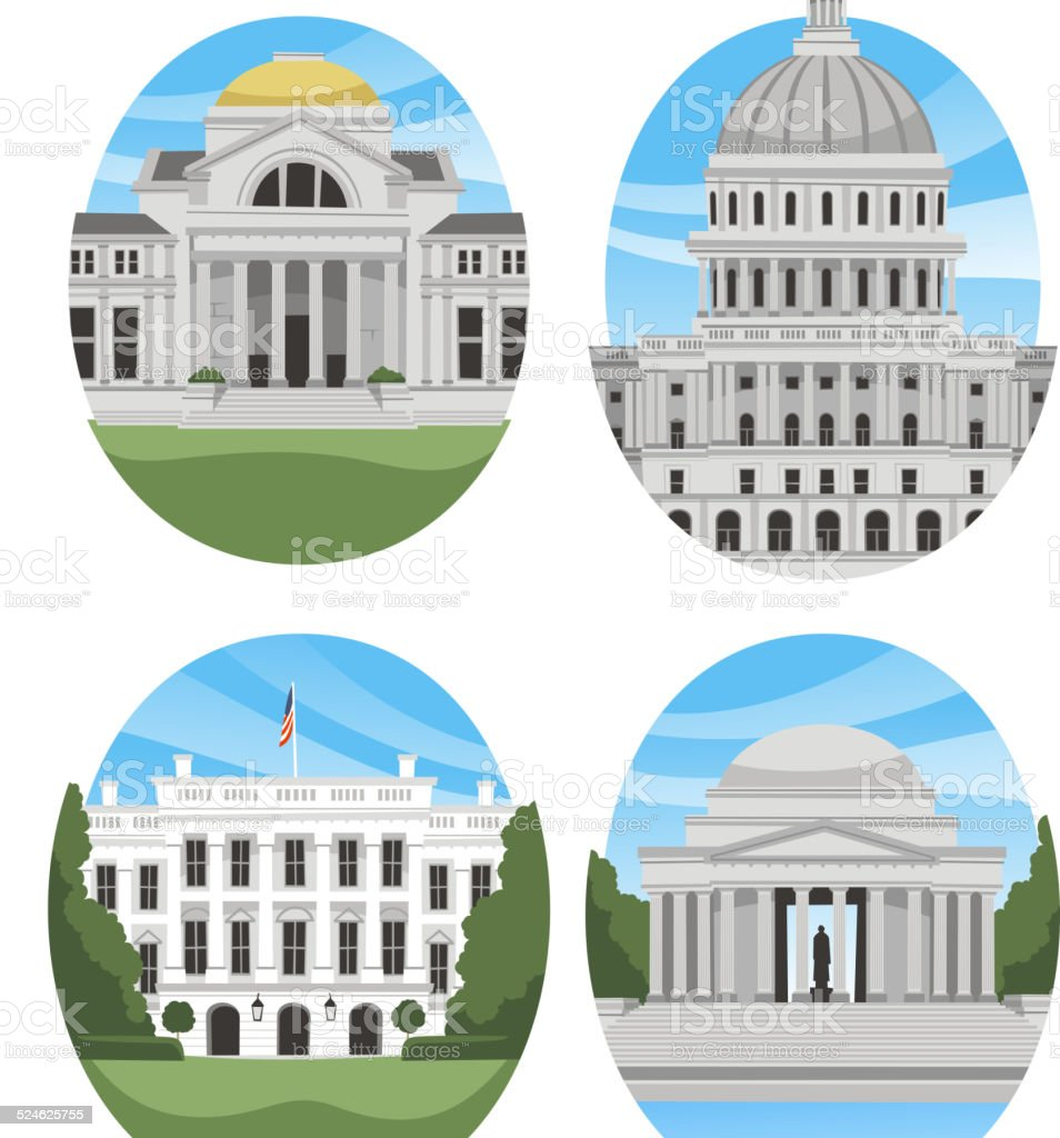 United States USA National Landmarks I vector art illustration