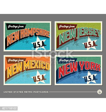United States vintage typography postcards featuring New Hampshire, New Jersey, New Mexico, New York
