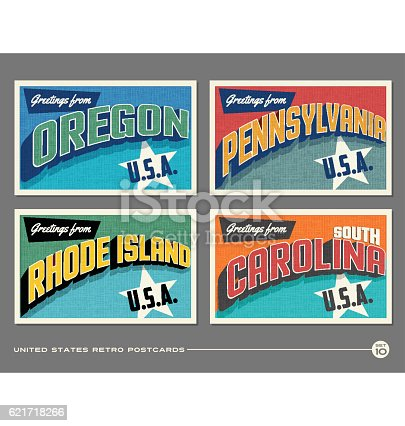 United States vintage typography postcards featuring Oregon, Pennsylvania, Rhode Island, South Carolina
