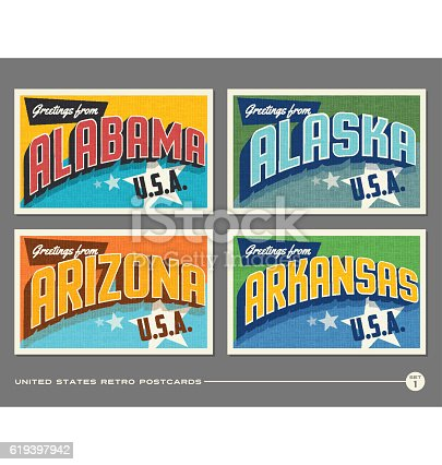 United States vintage typography postcards. Alabama, Alaska, Arizona, Arkansas