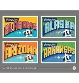 United States vintage typography postcards. Alabama, Alaska, Arizona, Arkansas
