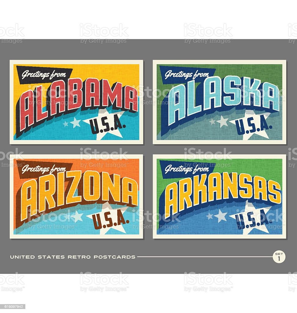 United States vintage typography postcards. Alabama, Alaska, Arizona, Arkansas vector art illustration