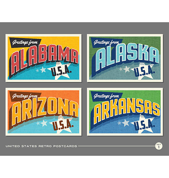 united states vintage typography postcards. alabama, alaska, arizona, arkansas - postcard stock illustrations