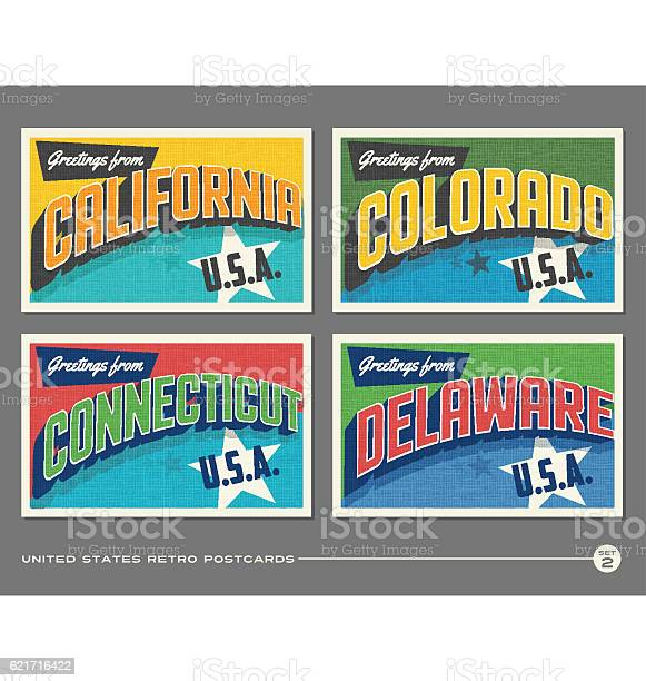 United states vintage typography postcards featuring california vector id621716422?b=1&k=6&m=621716422&s=612x612&h=2ea hqhefklajx cyfgqz8rkqimlh9sj1pimzwke x4=