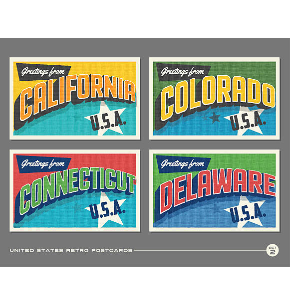 united states vintage typography postcards featuring california, colorado, connecticut, delaware - postcard stock illustrations