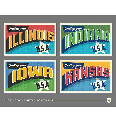 United States vintage typography postcards featuring Illinois, Indiana, Iowa, Kansas