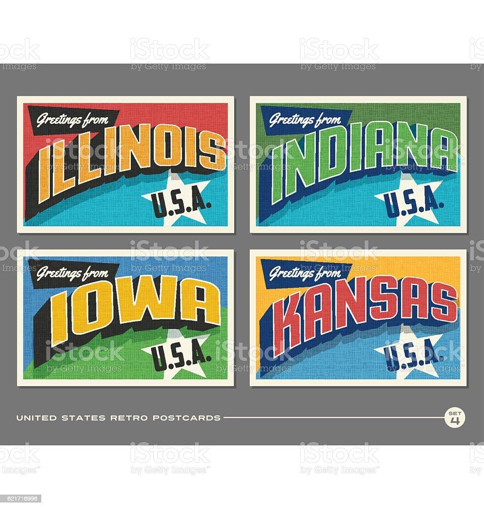 United States vintage typography postcards featuring Illinois, Indiana, Iowa, Kansas vector art illustration