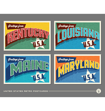 United States vintage typography postcards featuring Kentucky, Louisiana, Maine, Maryland