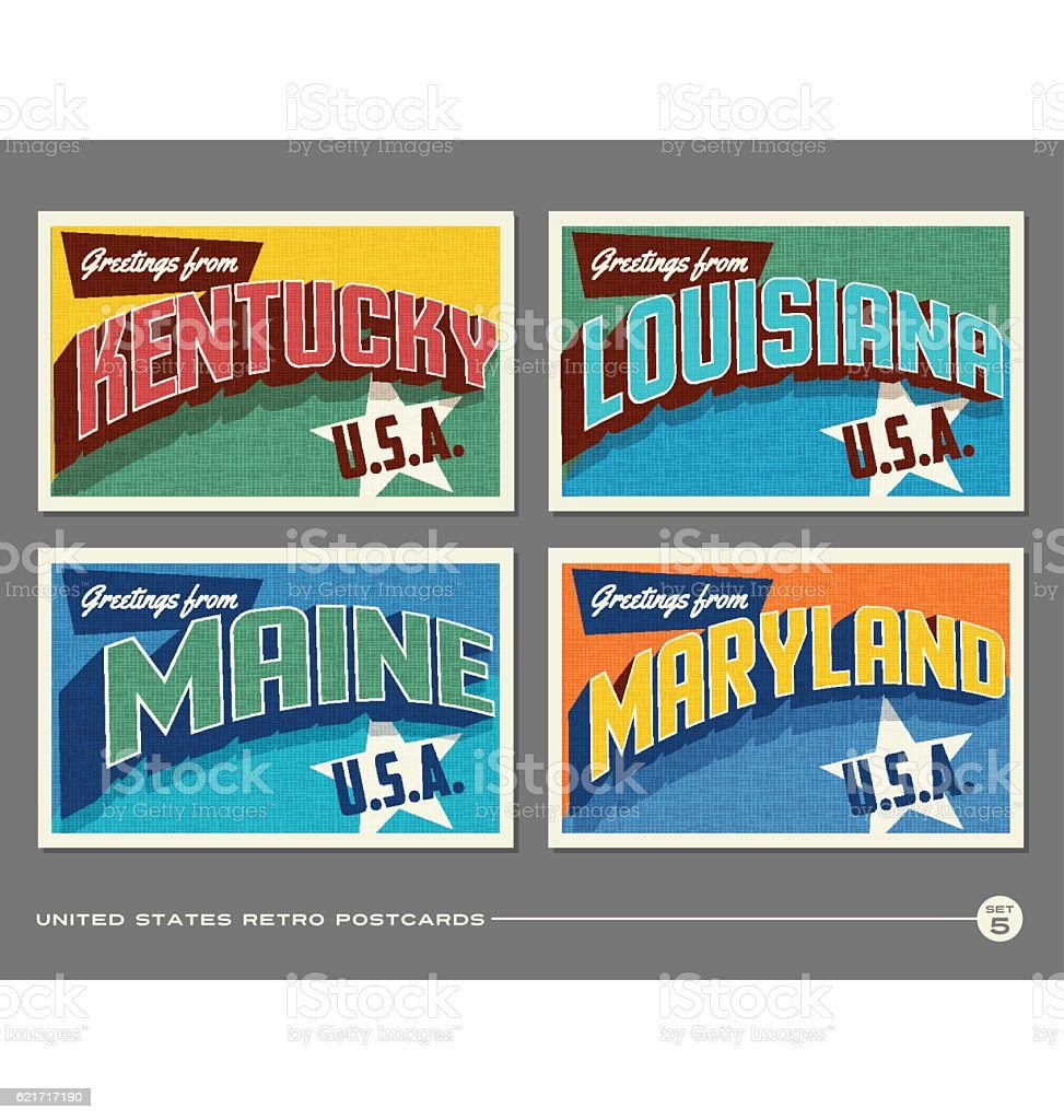 United States vintage typography postcards featuring Kentucky, Louisiana, Maine, Maryland vector art illustration