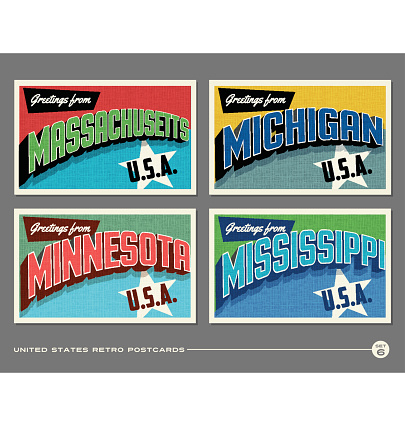 United States vintage typography postcards featuring Massachusetts, Michigan, Minnesota, Mississippi
