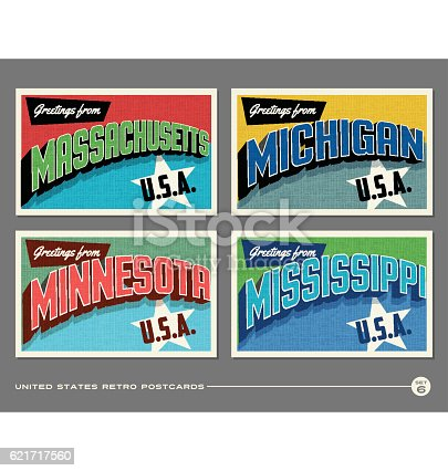 United States vintage typography postcards featuring Massachusetts, Michigan, Minnesota, Mississippi