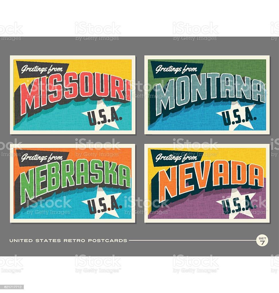 United States vintage typography postcards featuring Missouri, Montana, Nebraska, Nevada vector art illustration