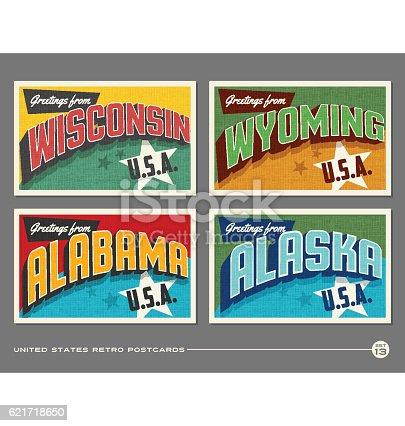 United States vintage typography postcards featuring Wisconsin, Wyoming, Alabama, Alaska