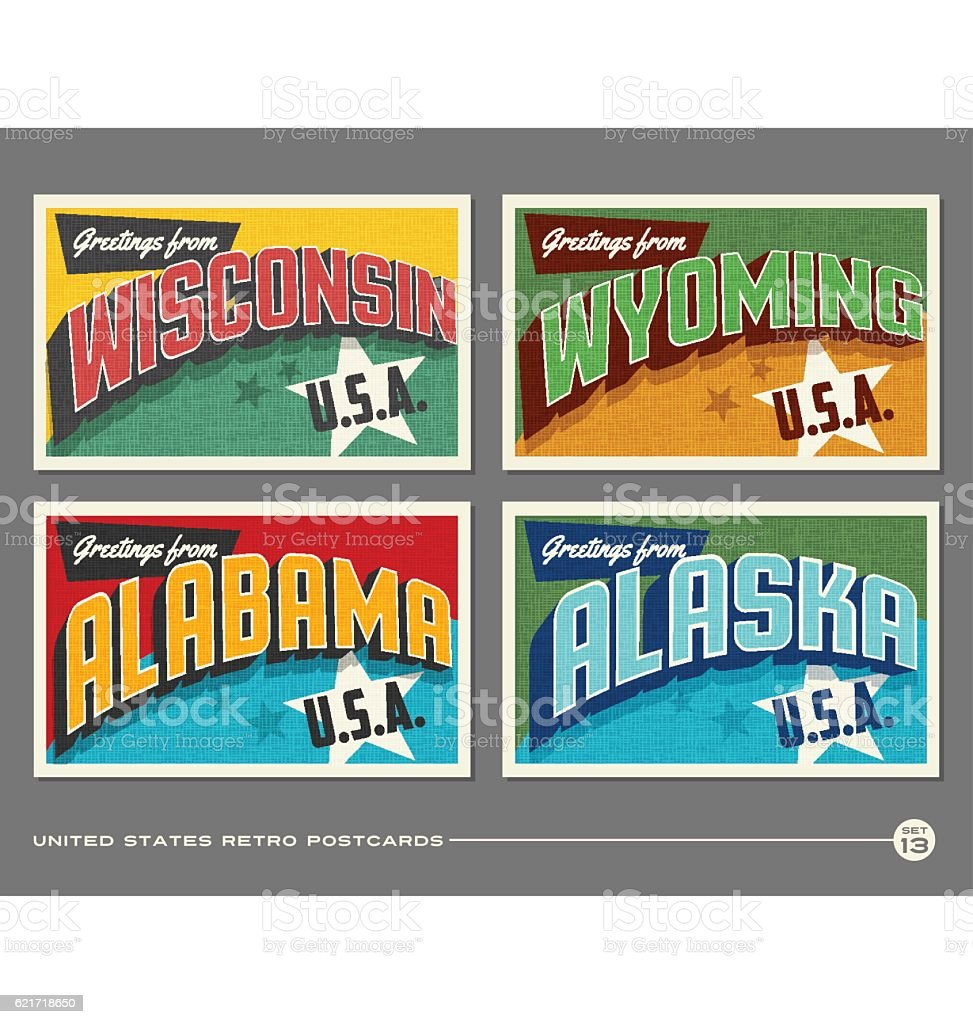 United States vintage typography postcards featuring Wisconsin, Wyoming, Alabama, Alaska vector art illustration