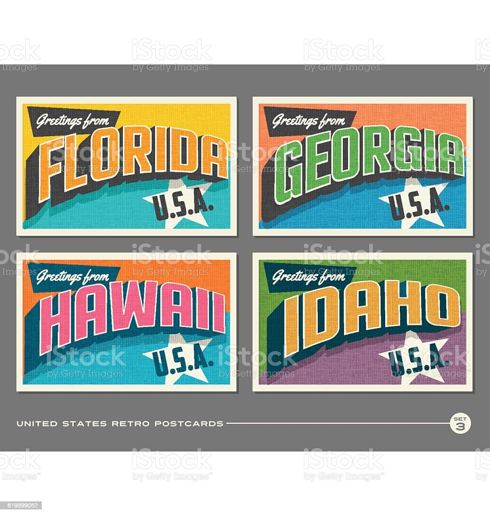 United States vintage typography postcards. Florida, Georgia, Hawaii, Idaho united states vintage typography postcards florida georgia hawaii idaho vecteurs libres de droits et plus d'images vectorielles de 1940-1949 libre de droits