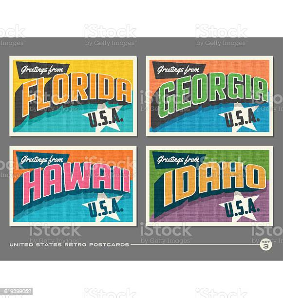 United states vintage typography postcards florida georgia hawaii vector id619399052?b=1&k=6&m=619399052&s=612x612&h= seixkagwxci3k 5f0hrwqeipzzfbkfcvauqcjvho 8=