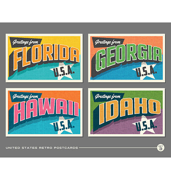 united states vintage typography postcards. florida, georgia, hawaii, idaho - postcard stock illustrations