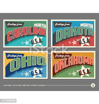 United States vintage typography postcards. North Carolina, North Dakota, Ohio, Oklahoma,