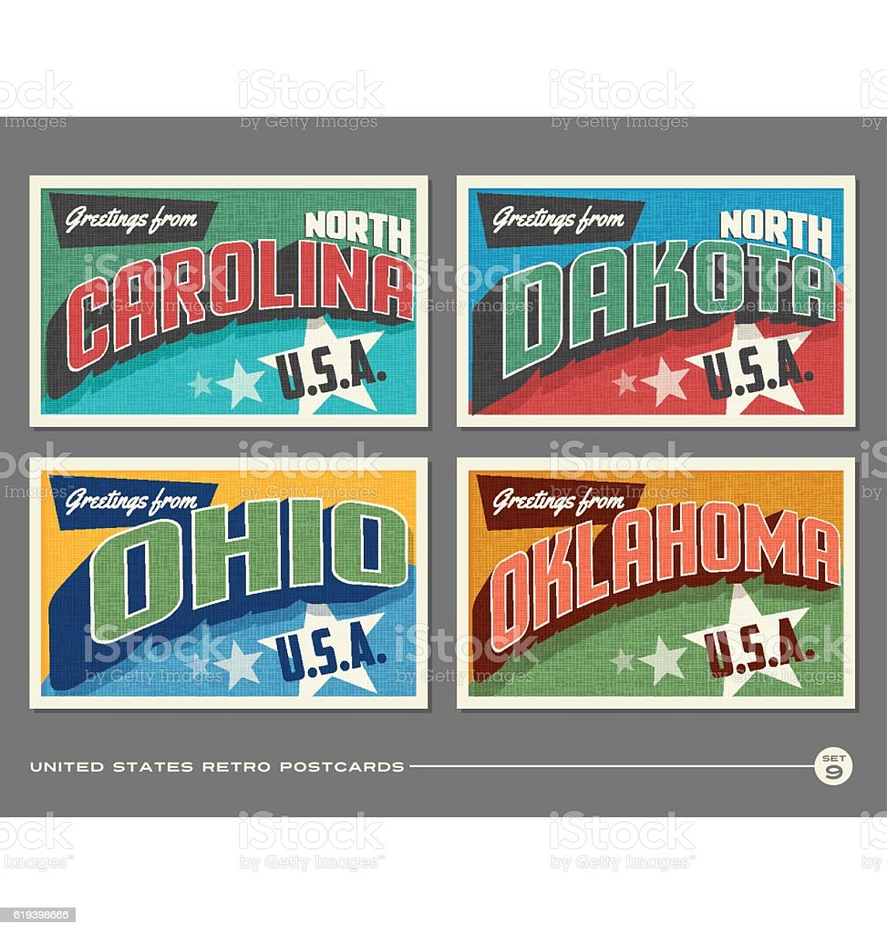 United States vintage typography postcards. North Carolina, North Dakota, Ohio, Oklahoma, vector art illustration