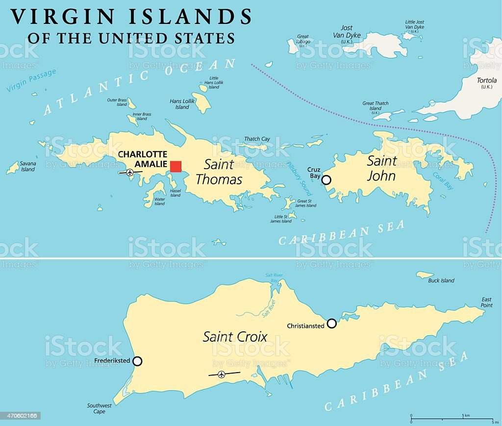 Picture of: United States Virgin Islands Political Map Stock Illustration Download Image Now Istock